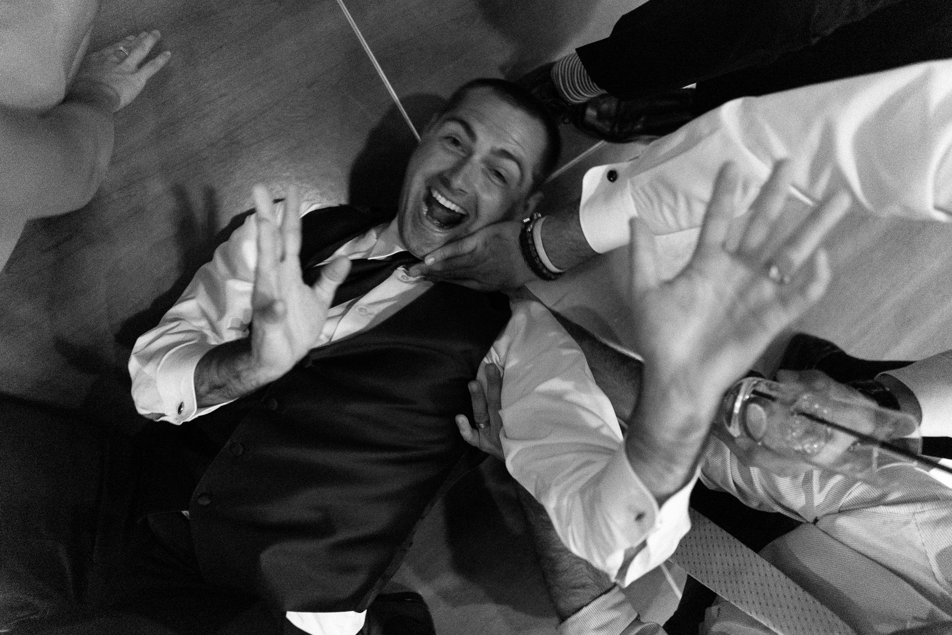 Dayton Wedding Photographer - Groomsmen Dancing