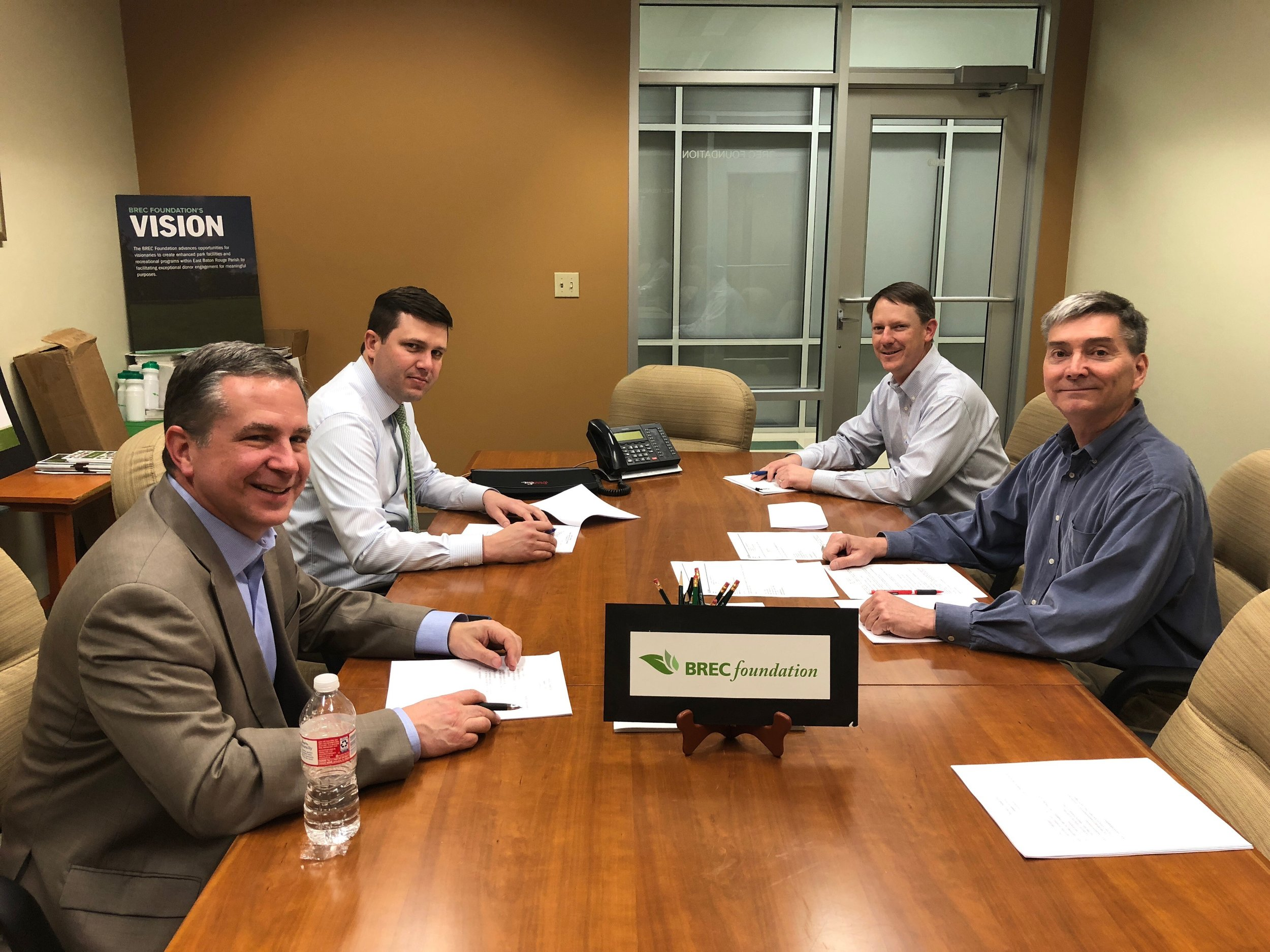"""Our Foundation Finance Committee met to review 2017 financial statements, discuss 2018 goals, consider proposed policies and make recommendations on the selection of an auditor. Members involved in the meeting included Bobby Varnau, Bryan Camerlinck, Jacob Waguespack, Treasurer Glen LaBorde and Executive Director Carl Stages."""