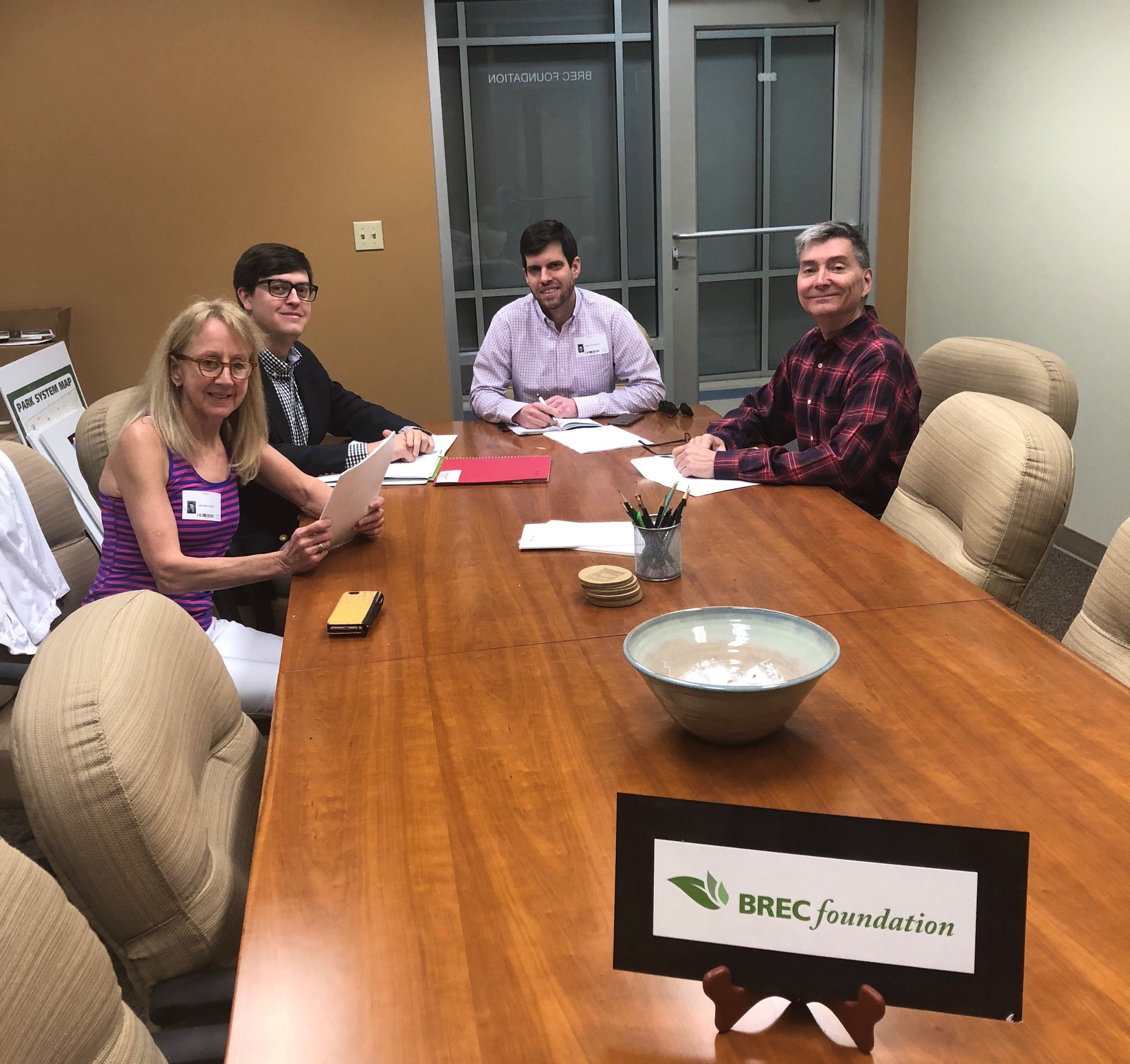 """The BREC Foundation Philanthropy Committee met on January 31, 2018 to review fundraising efforts for the year. Pictured from the left clockwise are Hitesh Chheda, Marcel Dupre, Anne Marks and Carl Stages."""