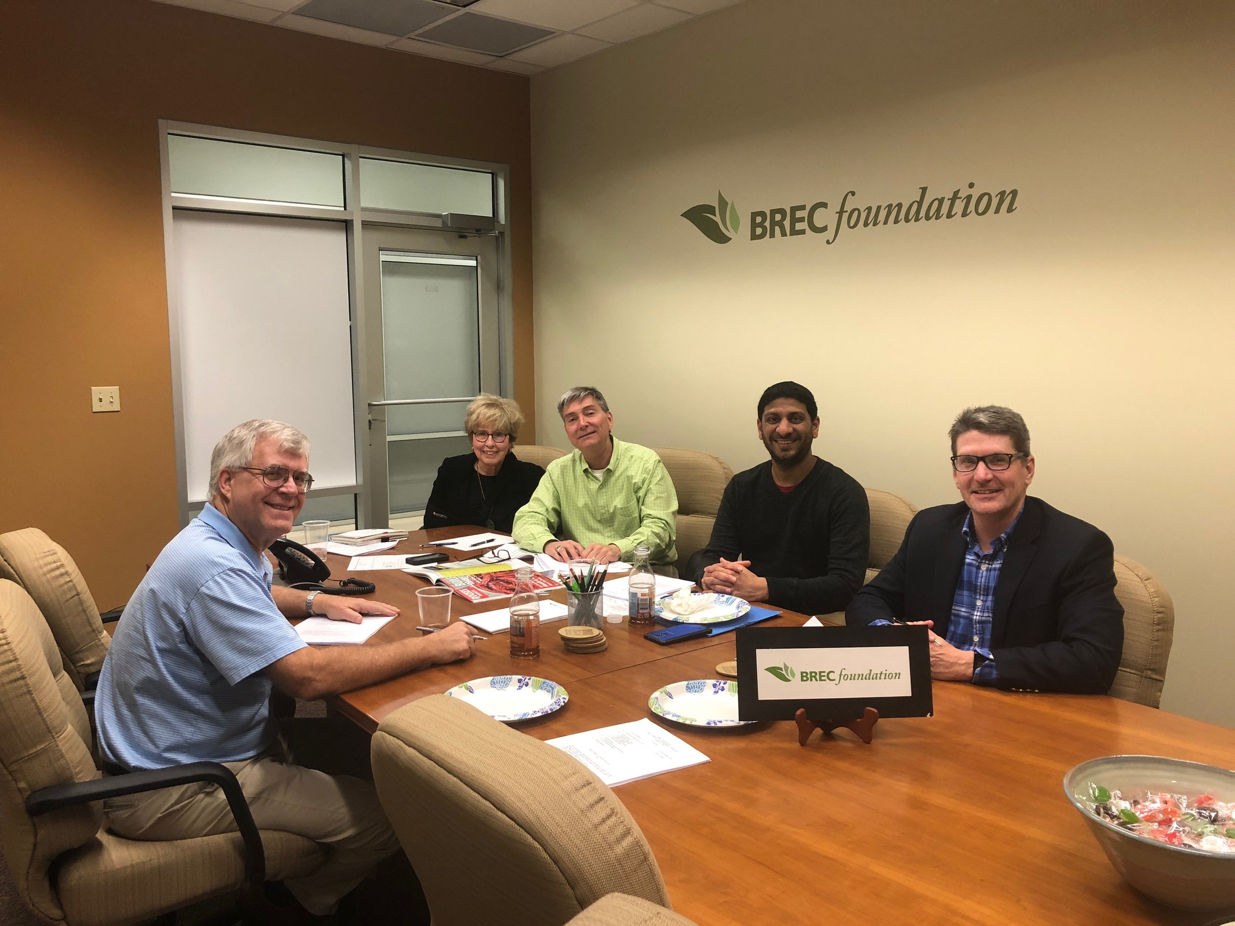 """""""Members of the Philanthropy Committee met on March 14, 2018 to discuss plans for donor recognition and possible special events. Pictured (from left, clockwise) are Marvin Borgmeyer, Anne Marks (Chair), Carl Stages (Executive Director), Hitesh Chheda and Marcel Dupre'."""""""