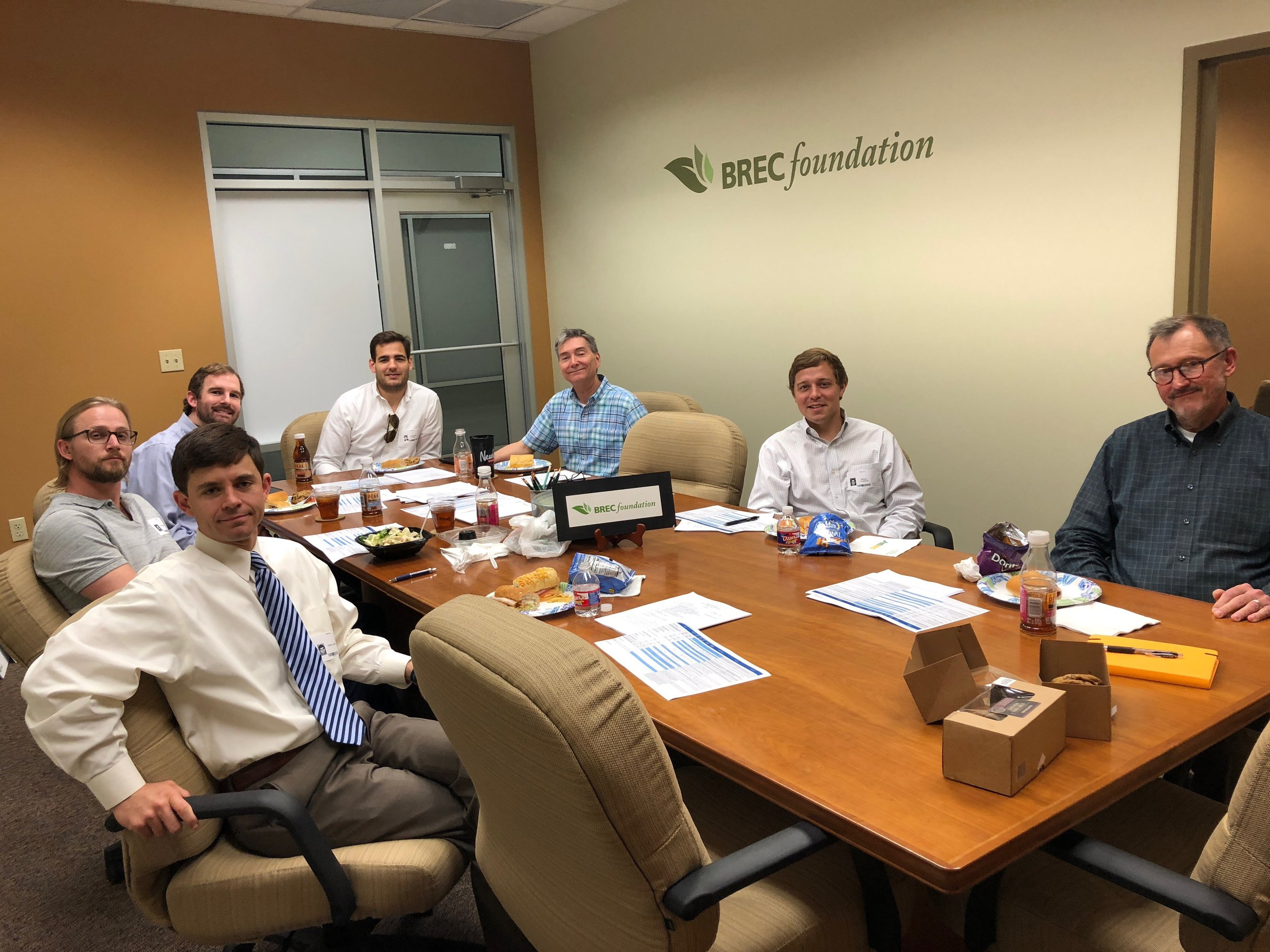 """""""Members of the Special Projects Committee of the BREC Foundation met on March 19, 2018 to discuss over 20 fund raising campaigns. Pictured, from the left, clockwise) are Glenn Ledet, Roy Heidelberg, John Grinton, Chris Ferrari (Vice Chairman), Carl Stages (Executive Director), Will Chadwick and BREC Assistant Superintendent Reed Richard."""""""