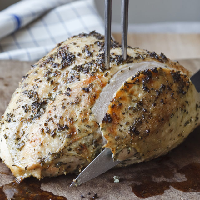 Herb Roasted Turkey Breast   - The easiest way to do turkey - Serve with your favorite sides all made ahead of time and you will be a goddess! Wine paring: An Oregon Pinot Noir from Elk Cove would be my choice.