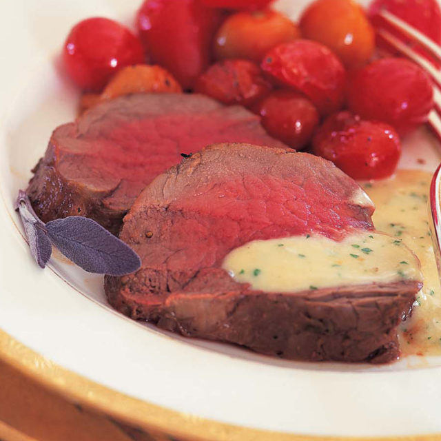 Filet of Beef with Gorgonzola Sauce.   If you are looking for decadent this is it! Serve alongside garlic mashed potatoes, lemony green beans, plenty of bread to soak up the sauce. Wine paring: A nice Washington Cabernet Sauvignon and you are in like Flynn!