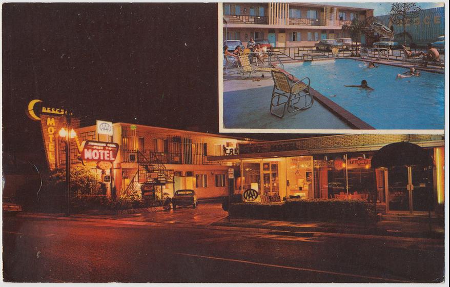 Rose Inn (Crescent Motel) historic postcard night time (1).png