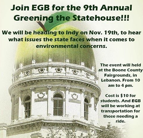 "Don't forget guys ""Greening the Statehouse"" is next weekend. If you have any questions or need transportation let us know!!! #greeningthestatehouse #capbsu #bsu #environment #greenissues #sustainability"
