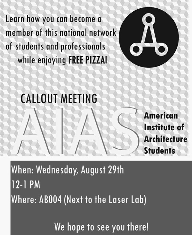 Spread the word! We hope to have a great turnout to share all the fun and amazing things we have planned for this year #ballstatearchitecture #aiasballstate #aias