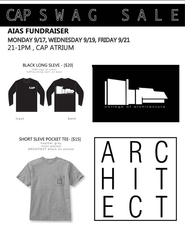 Find us in the CAP atrium next week if you want some awesome shirts designed by architecture students!
