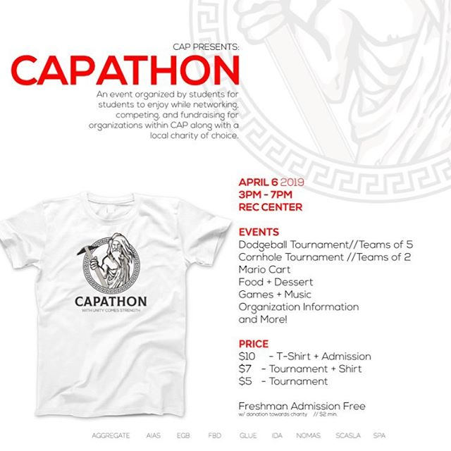 The first ever CAPATHON is this Saturday (April 6th) at the rec center field sports area. Join AIAS and many other CAP organizations/clubs for a super exciting night!