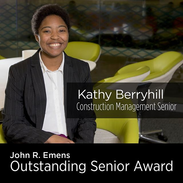 Congratulations to CAP's Construction Management Senior Kathy Berryhill in receiving the 2019 John R. Emens Outstanding Senior award. This honor recognizes the most outstanding undergraduate senior student for their cumulative record of co-curricular achievement, leadership, and contributions to Ball State University during their undergraduate years. Way to go Kathy, we are proud of you!