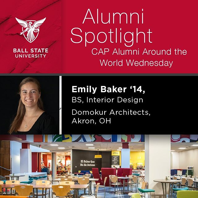 Emily Baker, '14 - Bachelor of Science, Interior Design w/ minors in Construction Management and Residential Property Management Domokur Architects, Akron, OH  Favorite Project? I've worked on several projects for a confidential Corporate client in Orrville, OH. One project I'm particularly proud of is their employee services facility where I had the opportunity to help design as well as manage construction for a 150,000 SF facility that houses their cafeteria and dining, gymnasium, employee store, lounge, health center and office spaces. It was a great learning experience and fun to work on a variety of different types of design.  Advice to Students? would be to branch out and try a variety of design avenues before you narrow it down to just one type of design you like. Also, your reps are a great way to reach out to the design community and make connections while you're still in school that could lead to employment opportunities after graduation.  Memorable Learning Experience? I enjoyed participating in the immersive learning opportunities our interior design program provided. It gave us the opportunity to work with real clients and get their feedback on our designs, as well as improve our presentation and teamwork skills.  Photos provided by Domokur Architects. @DomokurArch #emilybaker @ballstate_landscape @ballstate_architecture #ballstateinteriordesign #interiordesign
