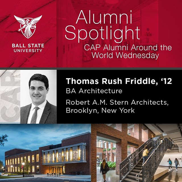 Thomas Rush Friddle, '12 B.A. Architecture, RA, NCARB  Favorite Project? Marist Steel Plant Studios. This is the first project I ever led as a project manager and project architect. Marist Steel Plant is an addition and renovation to an historic brick masonry steel fabrication facility in #Poughkeepsie NY. The character we developed for Marist Steel Plant Studios combines elements of historic, industrial brick masonry detailing with elements of contemporary curtain wall construction. The project contains custom designed metal paneling and custom graphic concrete panelization.  Architectural Photos by Peter Aaron / Otto for Robert A.M. Stern Architects. Headshot by Robert A.M. Stern Architects. @ramsarchitects #mariststeel #newyorkdesigner #architecture #ballstate100 #ballstatearchitecture