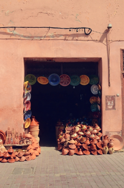 Tagines piled outside a storefront | photo by Maleeha Sambur
