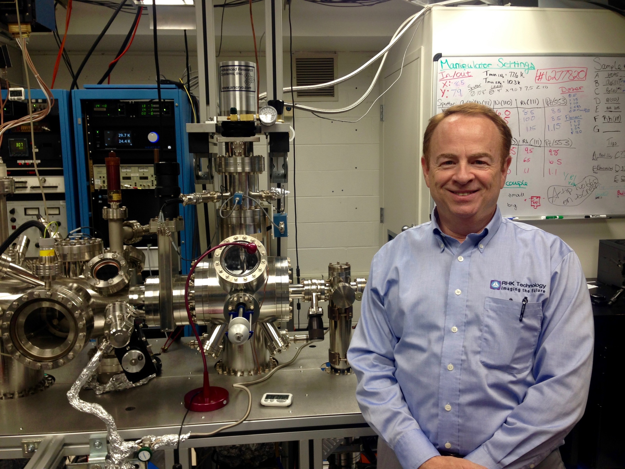 Adam Kollin, president of RHK Technology, visited the lab to see the ccHe STM in operation.