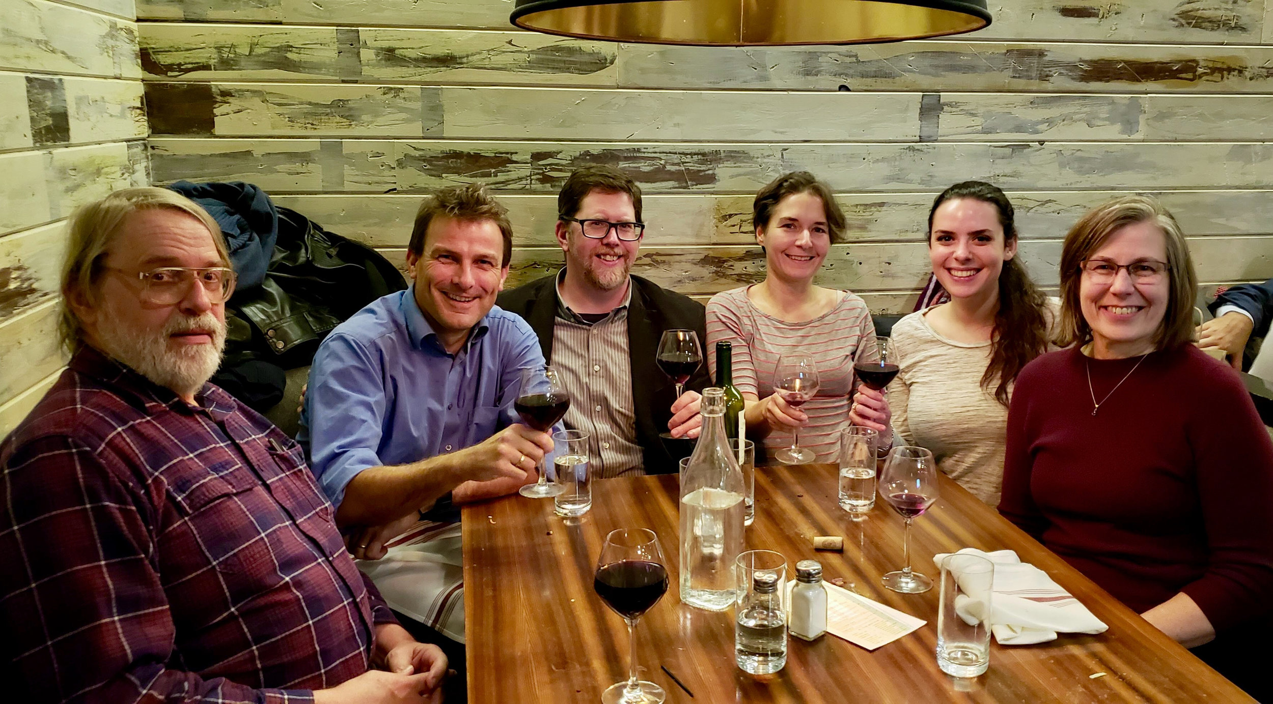 Dinner at Milts with Kevin Gibson, Ludo, Dan, Ginevra Clark, Rachael, and Linda Brazdil.