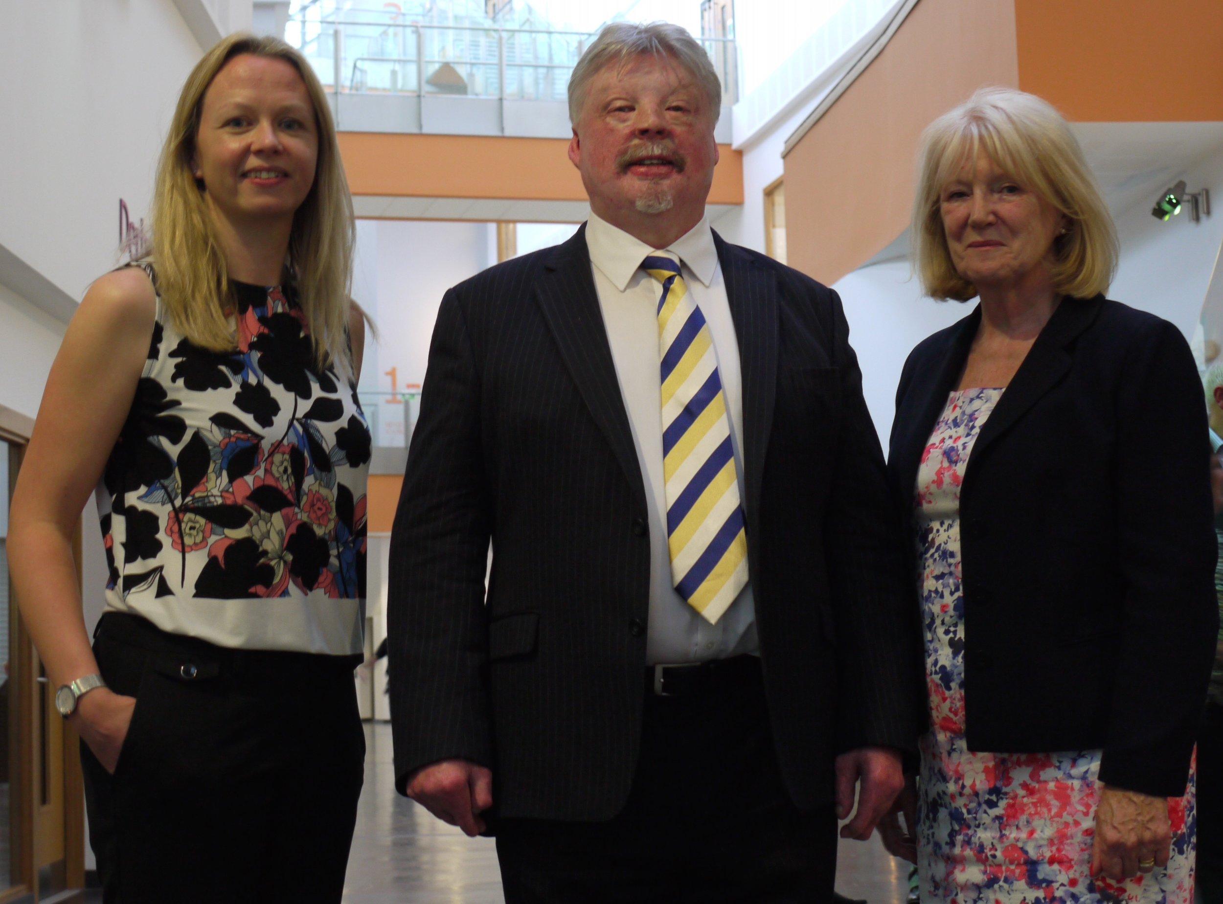 (From L-R) Liz Brookes - Forum Coordinator, Simon Weston CBE - Speaker, Denise Lovering - Chair of Caerphilly Business Forum