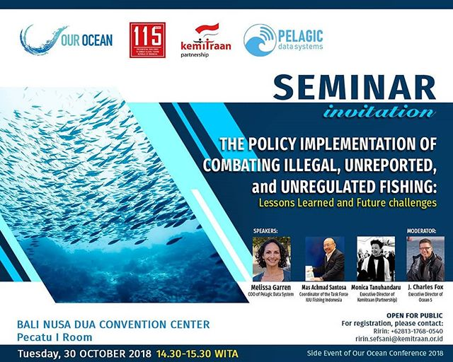 Our COO and Chief Scientist, Melissa Garren is speaking during the seminar for The Policy Implementation of #IUUFishing at the @OurOcean2018 in Bali today. #ourocean2018