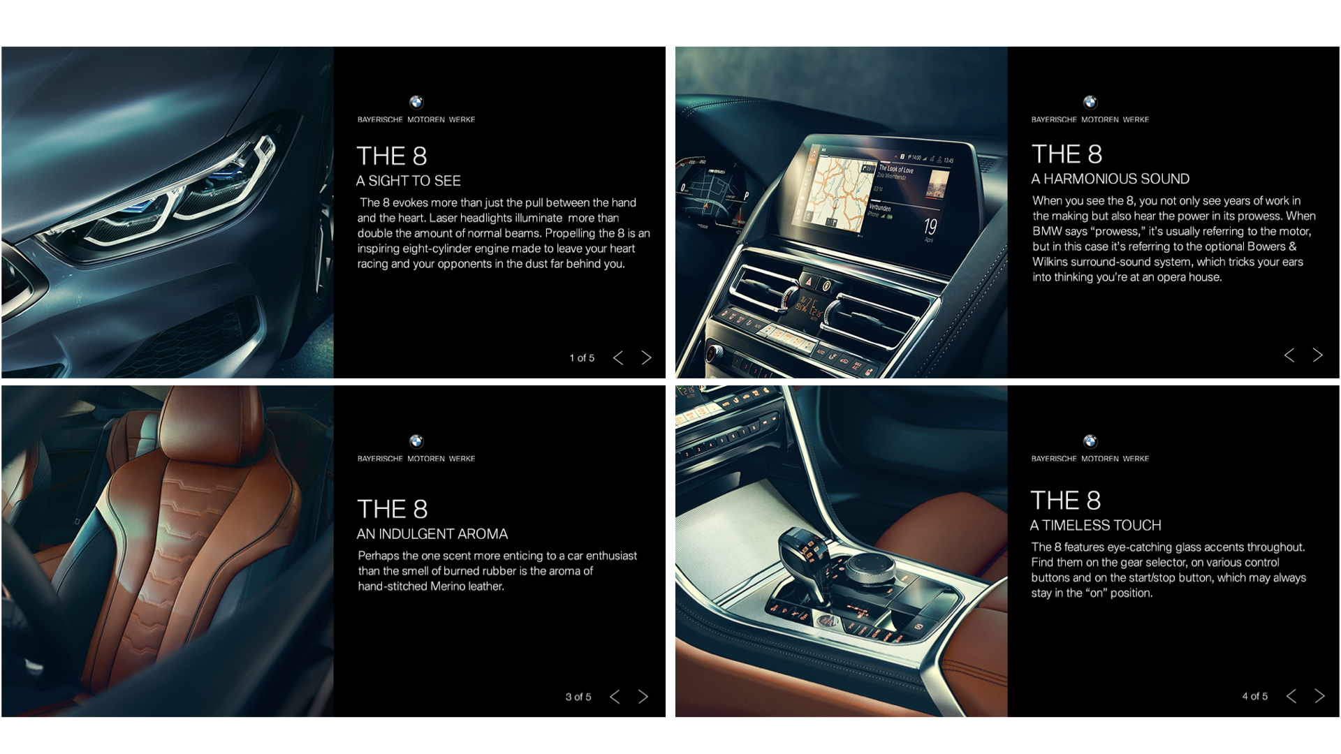 Above: An ad that rotated through different senses paralleled with notable features of the car.
