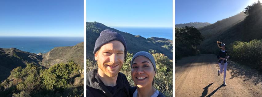 1. Vista del cerro en el Bosque Los Padres. 2. Matt y yo despues de correr. 3. Corriendo en el cerro.