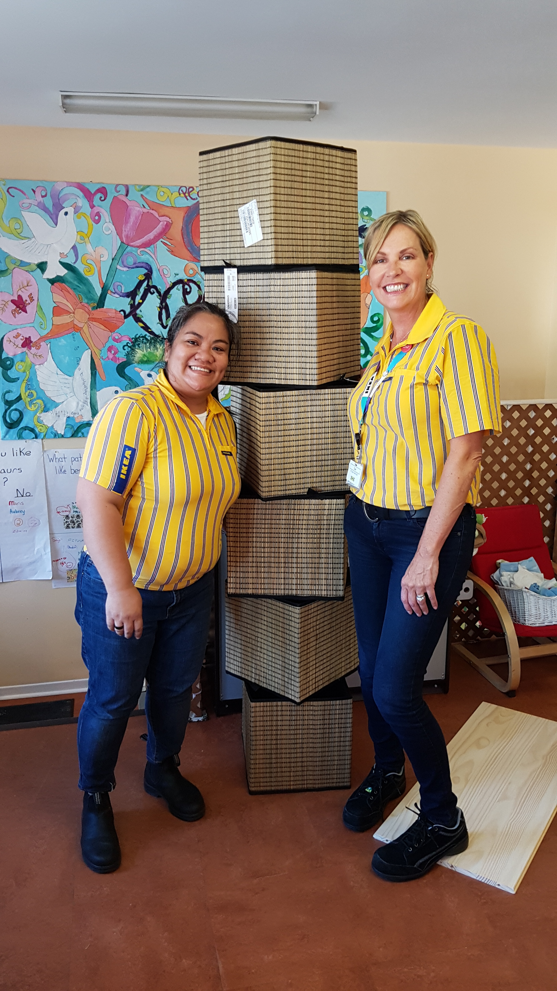 A stack of gifts! Thank you to IKEA for not only giving our drop-in room a make over, but also for helping us put everything together!