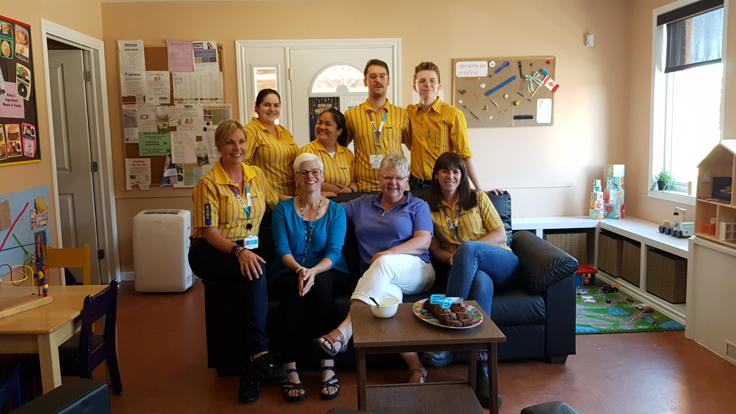 The IKEA team with our Director of Partnerships, Anne-Marie, and our Executive Director Wendy, all on our brand new couch! Thank you!