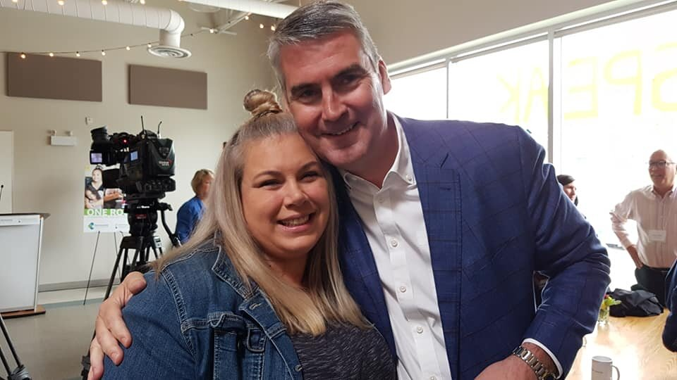 Diana poses with Premier McNeil after the big announcement.