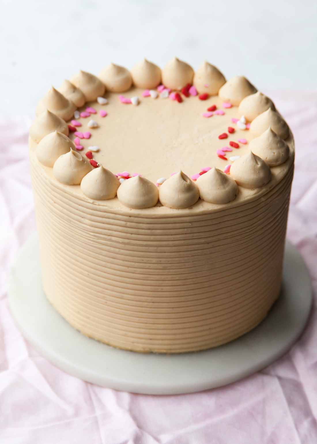 Chocolate cake with caramel pastry cream and caramel buttercream for Valentine's Day.