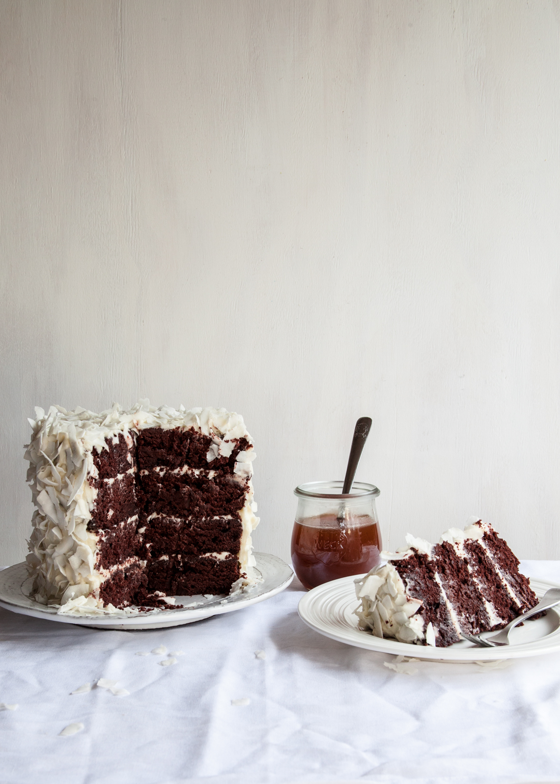 "Outtake from ""Layered"" of the Chocolate Coconut Cake."
