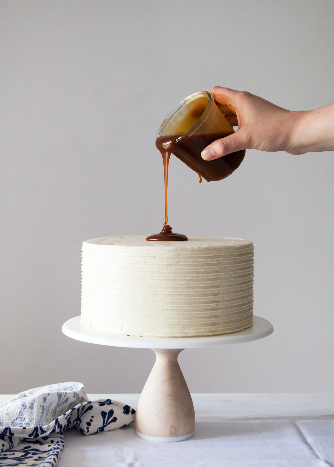 London Fog Cake with Earl Grey buttercream and salted caramel sauce.