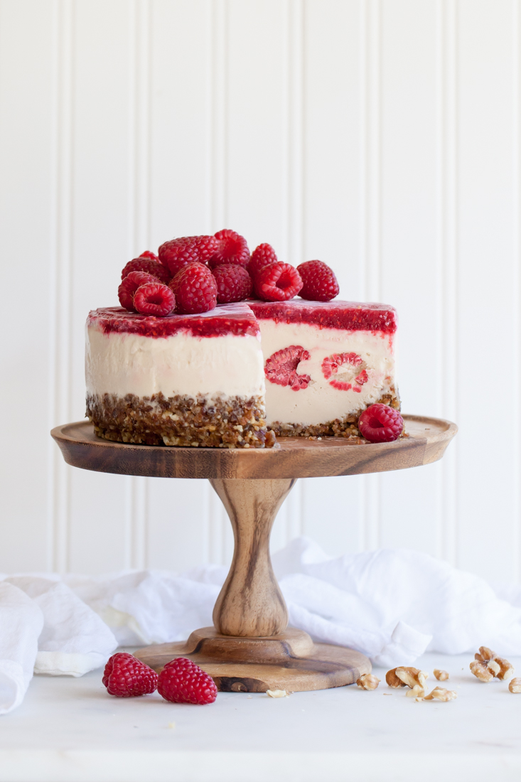 Frozen raspberry cashewmilk cake - gluten, dairy, and egg free.