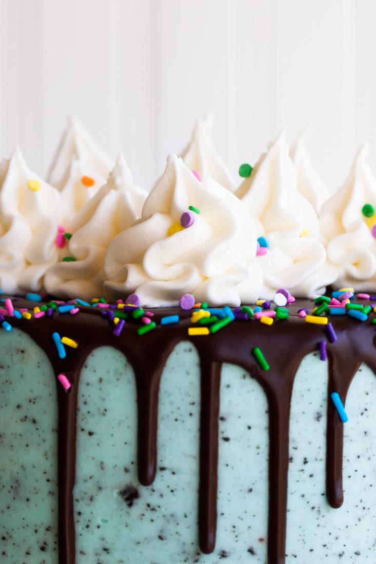 Birthday Oreo Cake with confetti cake, chocolate cake, and oreo frosting.