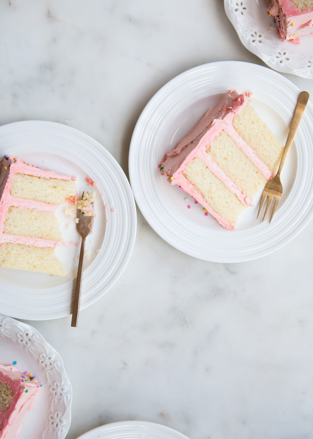 Vanilla Cake with Pink Buttercream Frosting