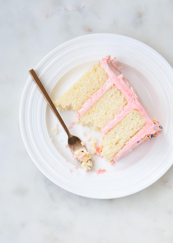 Fluffy White Cake with Swiss Meringue Buttercream.