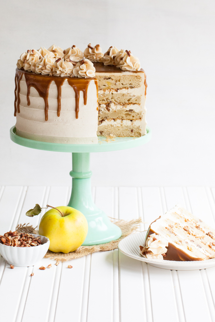 Apple toffee crunch cake with spiced buttercream and toffee glaze.