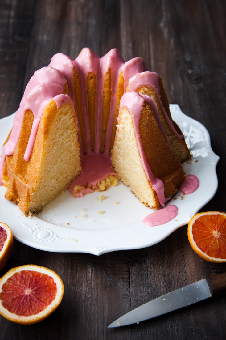 Blood Orange Bundt Cake with Pink Glaze