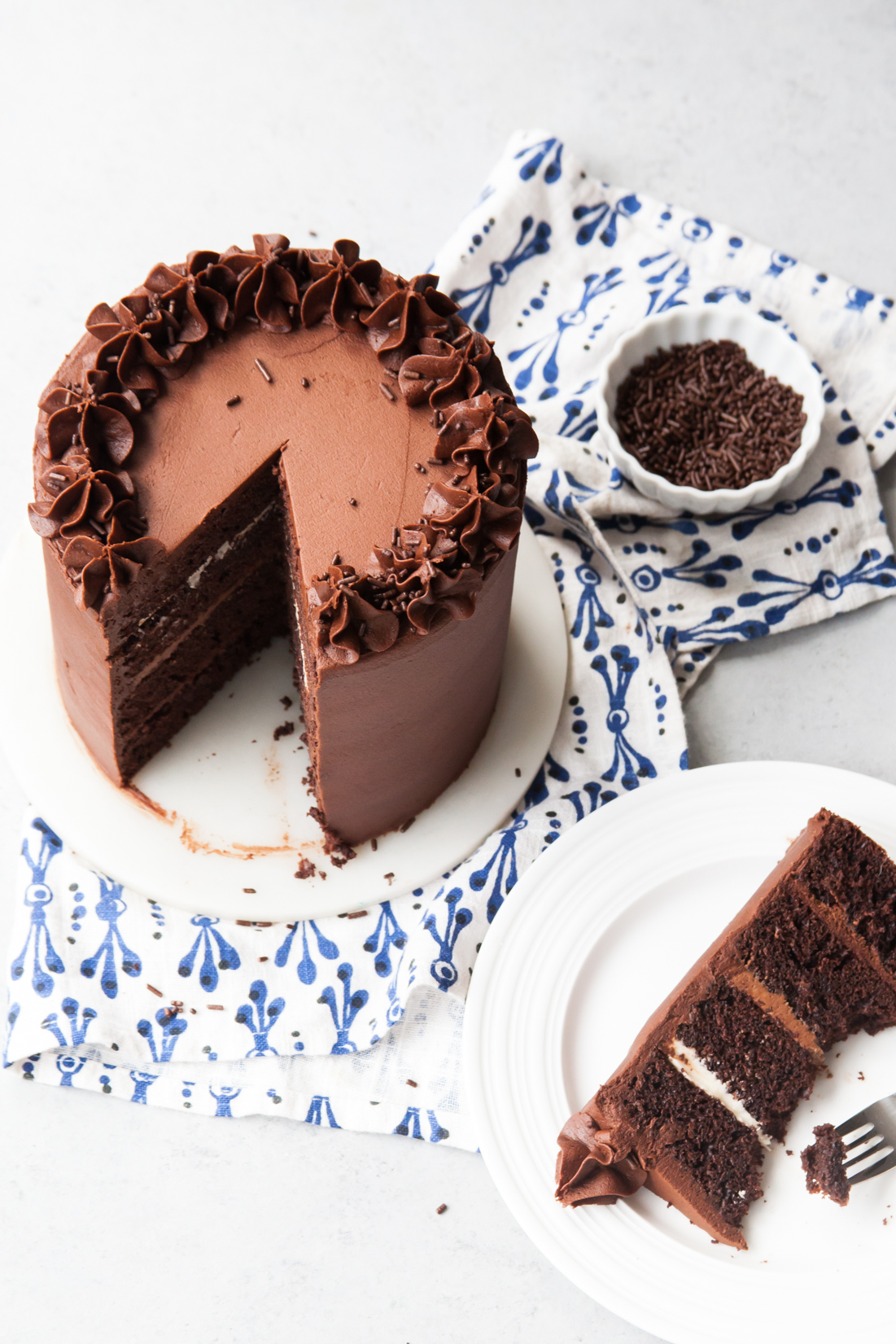 Chocolate Fudge Layer Cake with ombré chocolate filling.