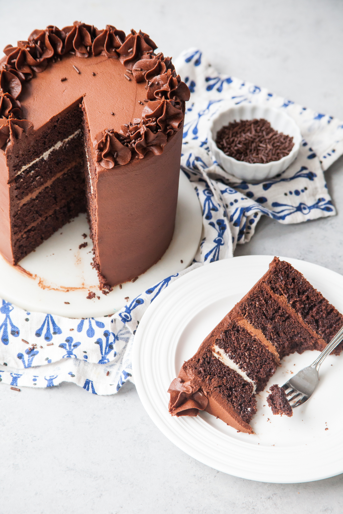 Chocolate Fudge Layer Cake with ombre chocolate filling