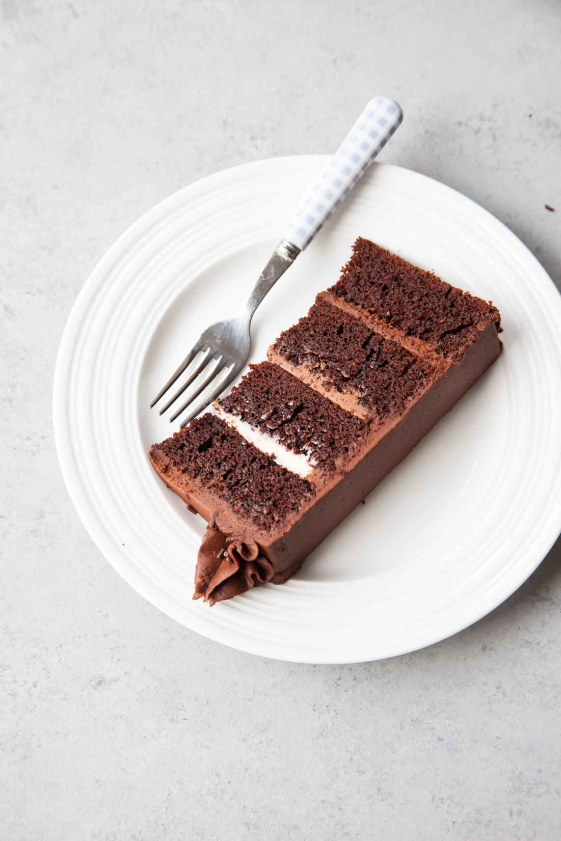 Chocolate Fudge Layer Cake with ombre chocolate filling.