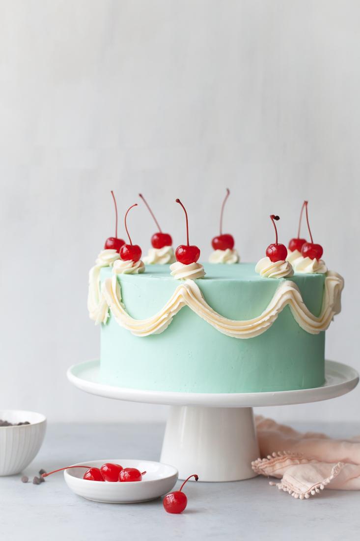 Cherry Chip Cake with chocolate ganache and whipped vanilla buttercream.