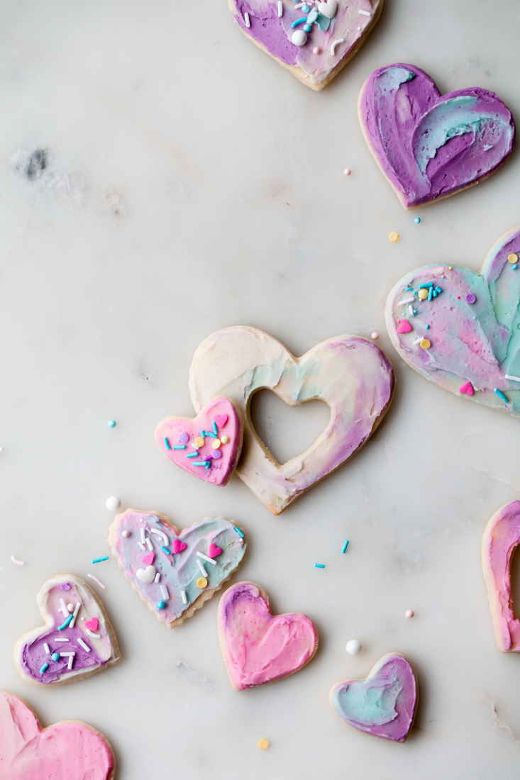 Soft Watercolor Valentine's Day Cookies