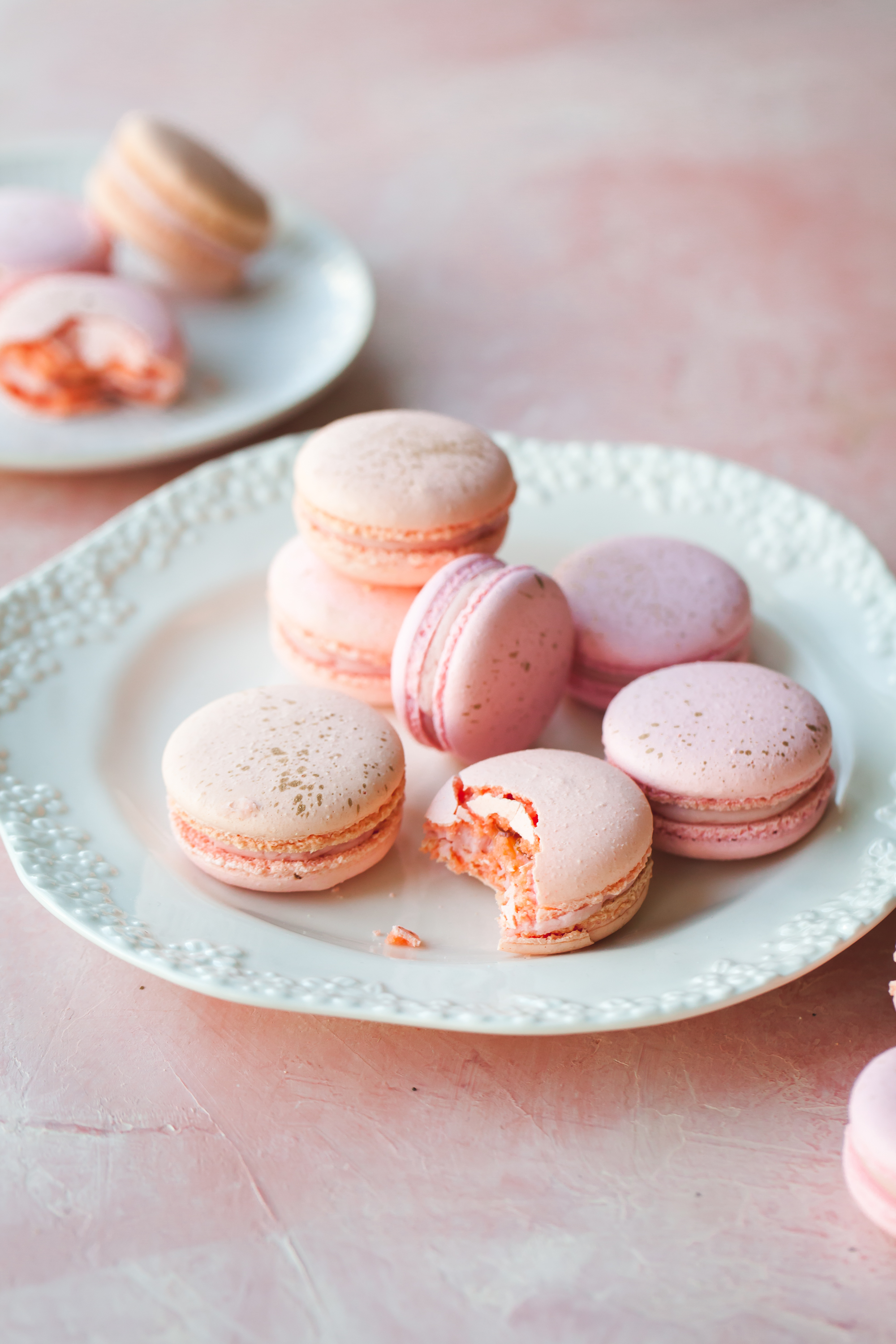 Raspberry Peach Macarons