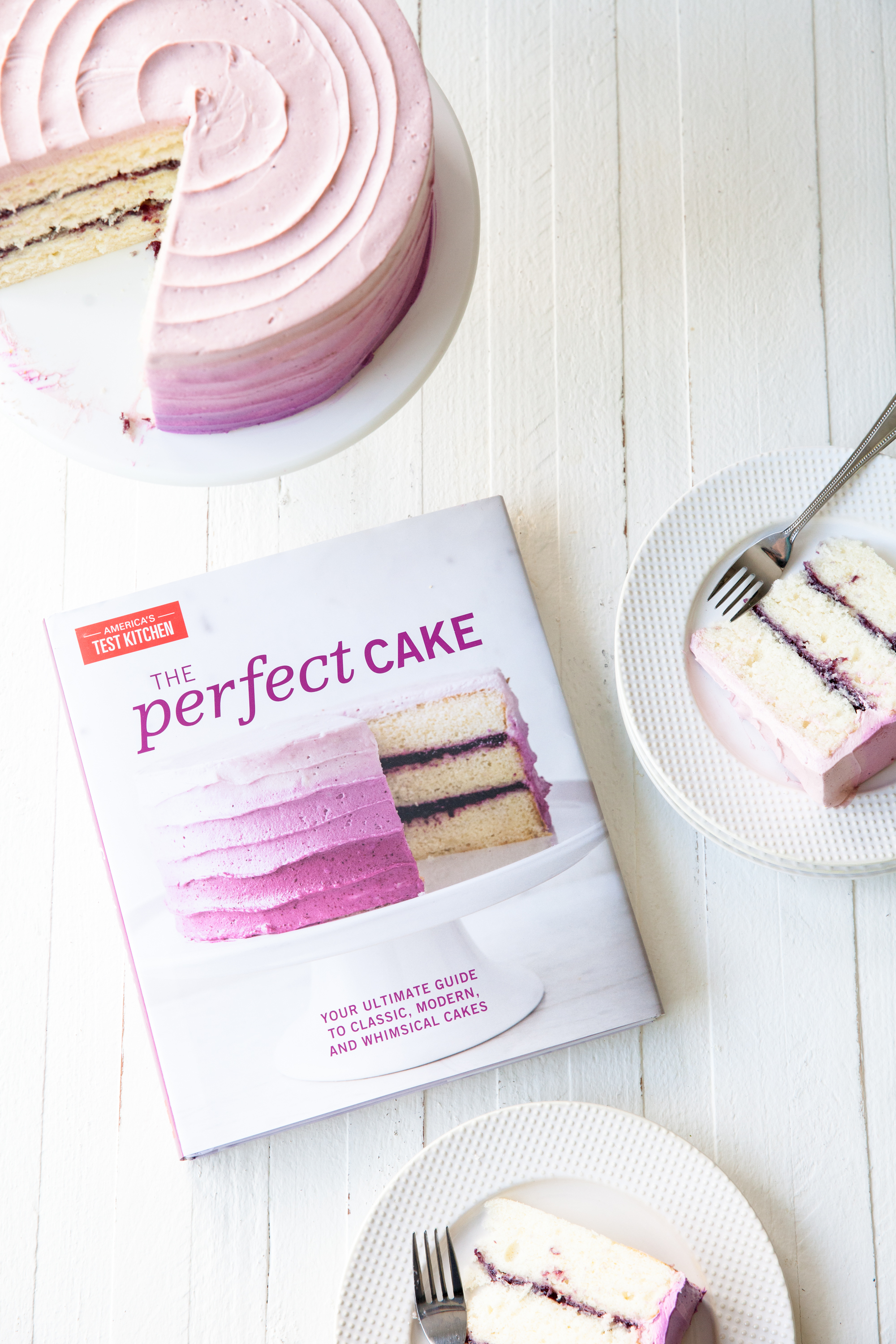Blueberry Layer Cake Recipe with ombré frosting