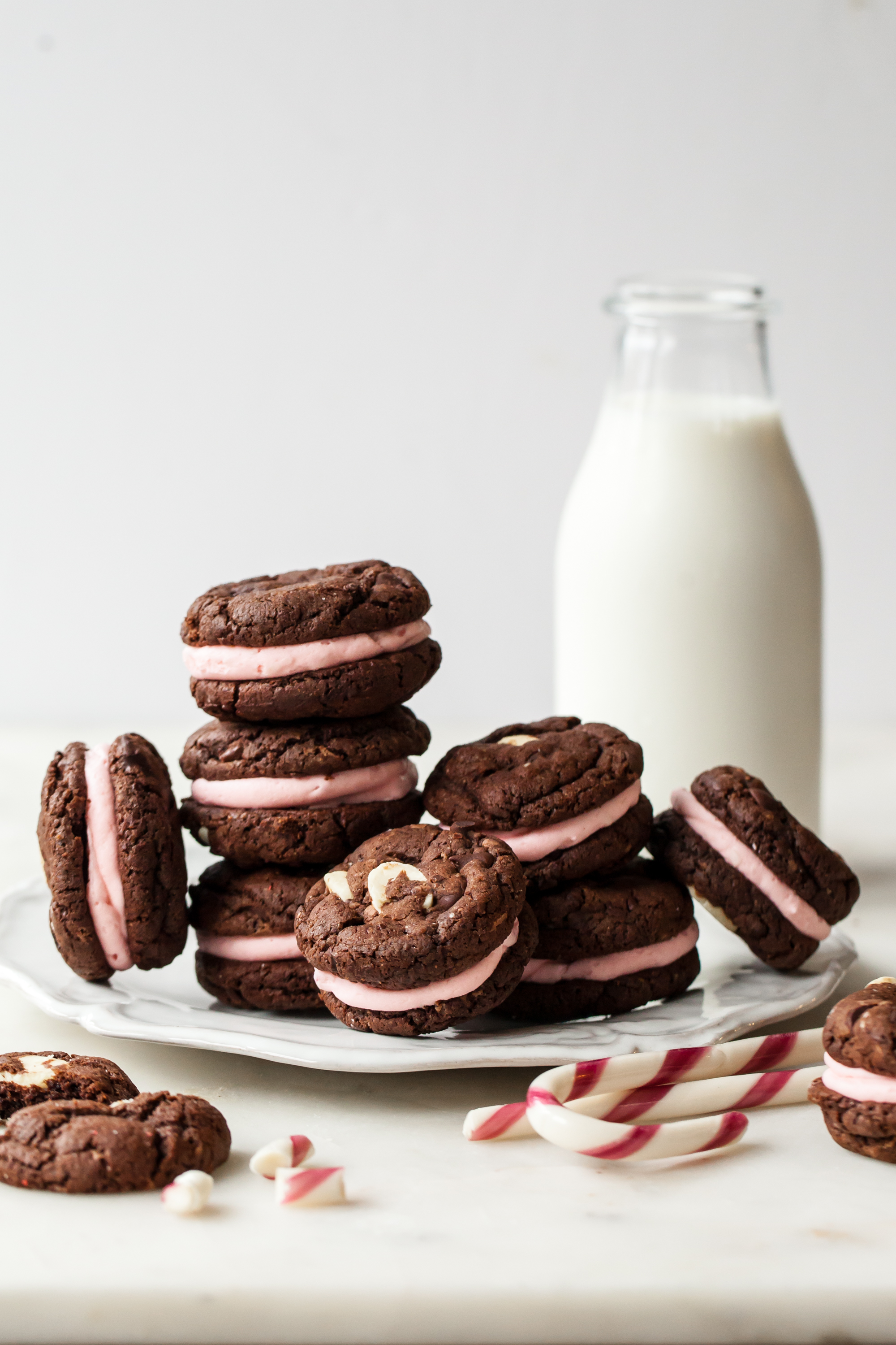 Triple Chocolate Peppermint Sandwich Cookies