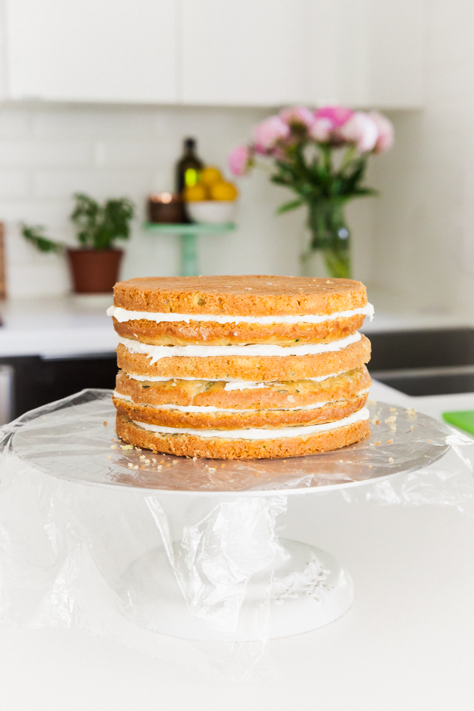 Lemon Zucchini Cake Recipe with goat cheese frosting and lemon glaze