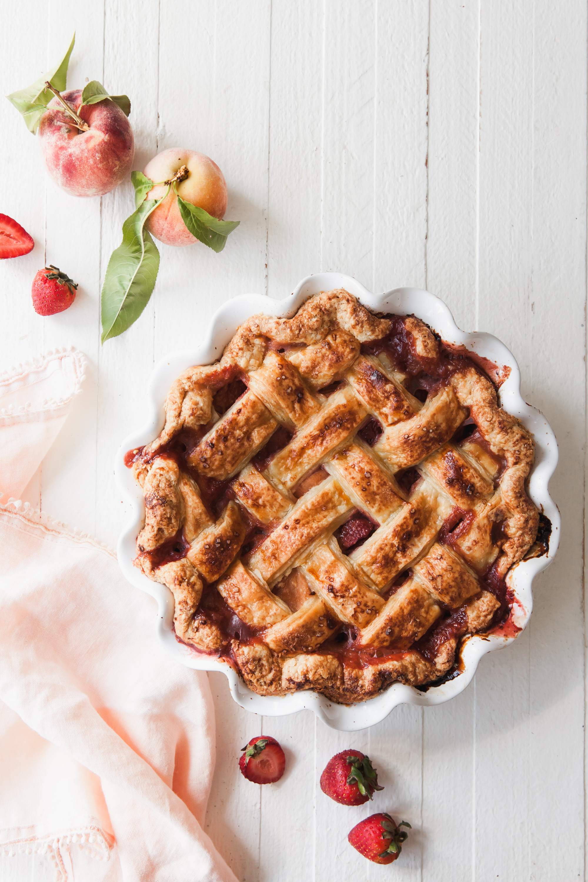 Strawberry Peach Pie Recipe with brown sugar and an all butter crust