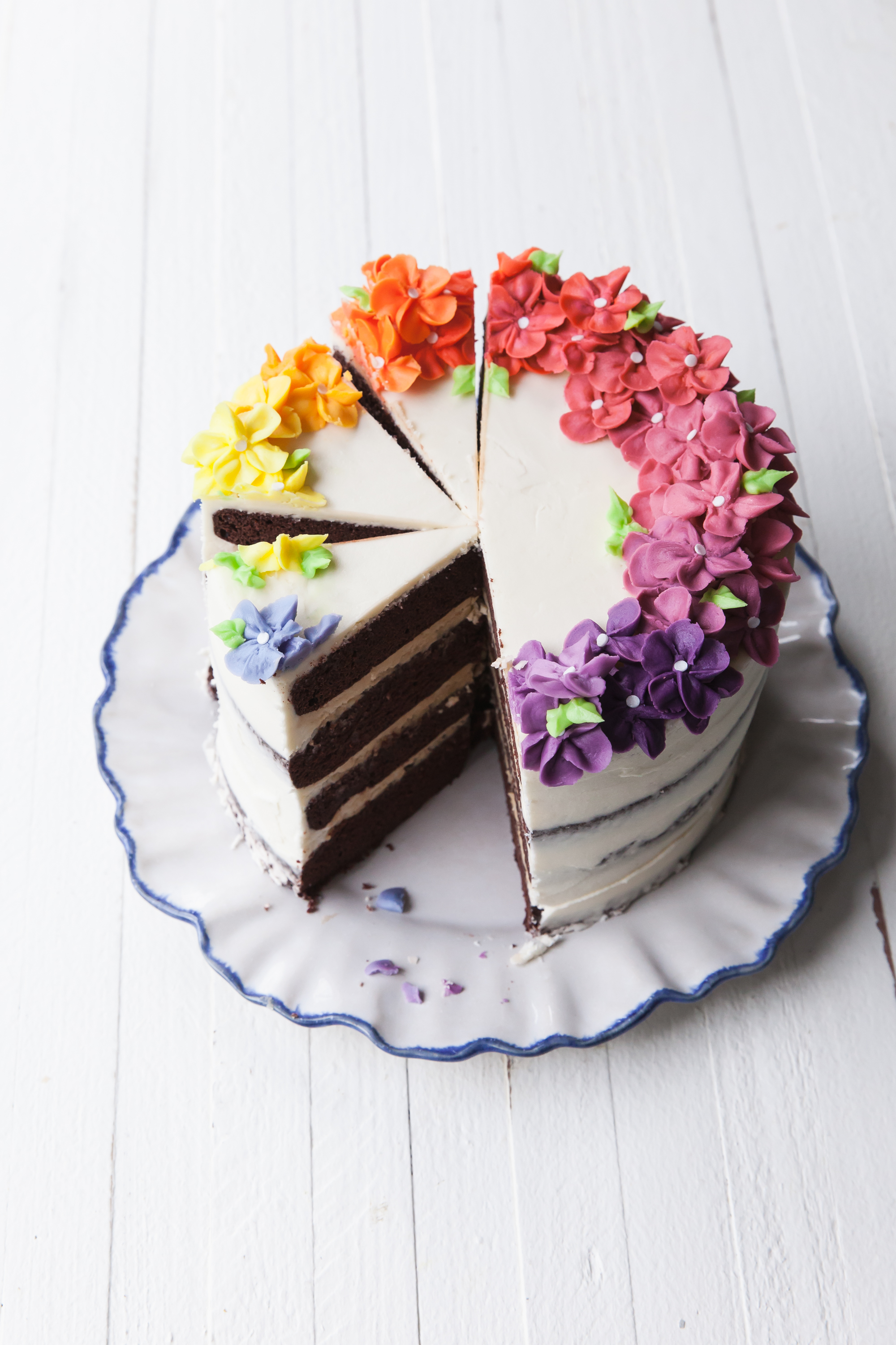 Rainbow Flower Cake with layers of eggless chocolate cake and peanut butter filling
