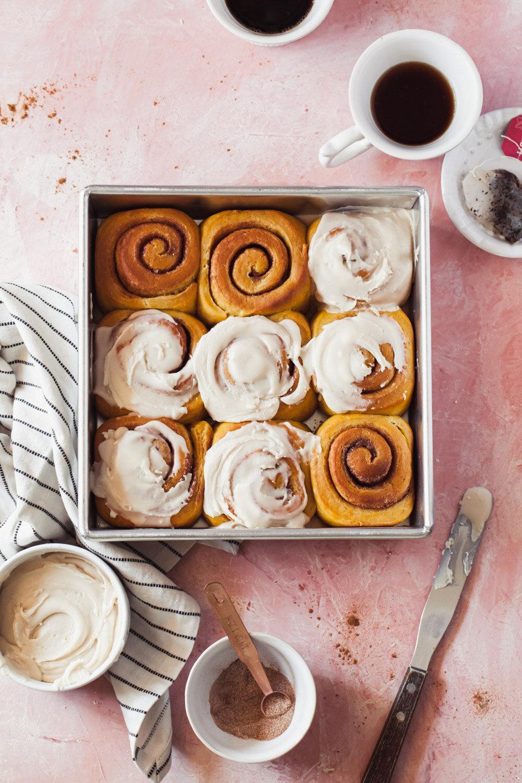 Overnight Pumpkin Cinnamon Rolls Recipe with chai-vanilla glaze
