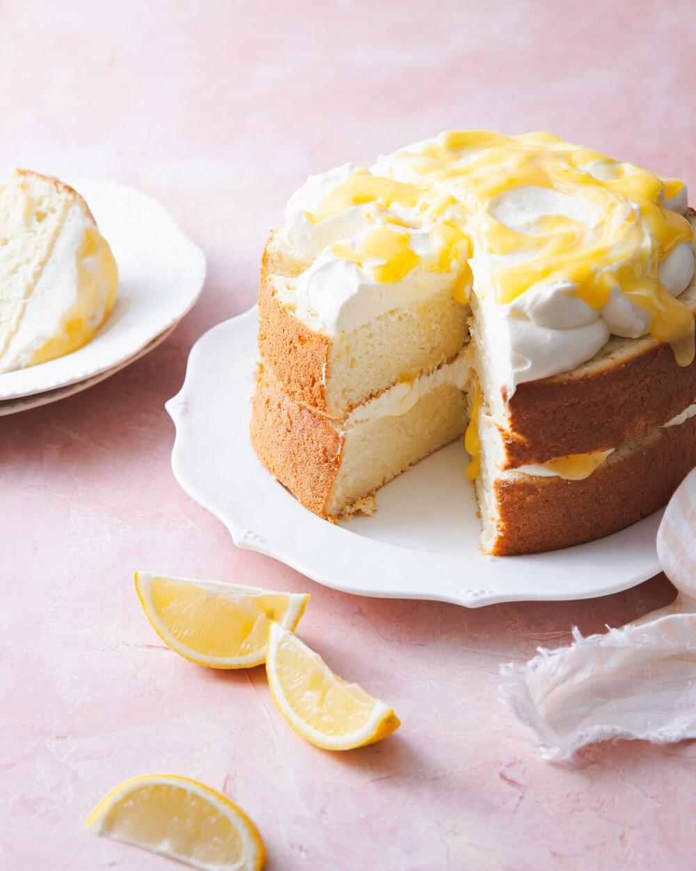 Lemon Chiffon Layer Cake with lemon curd and mascarpone cream