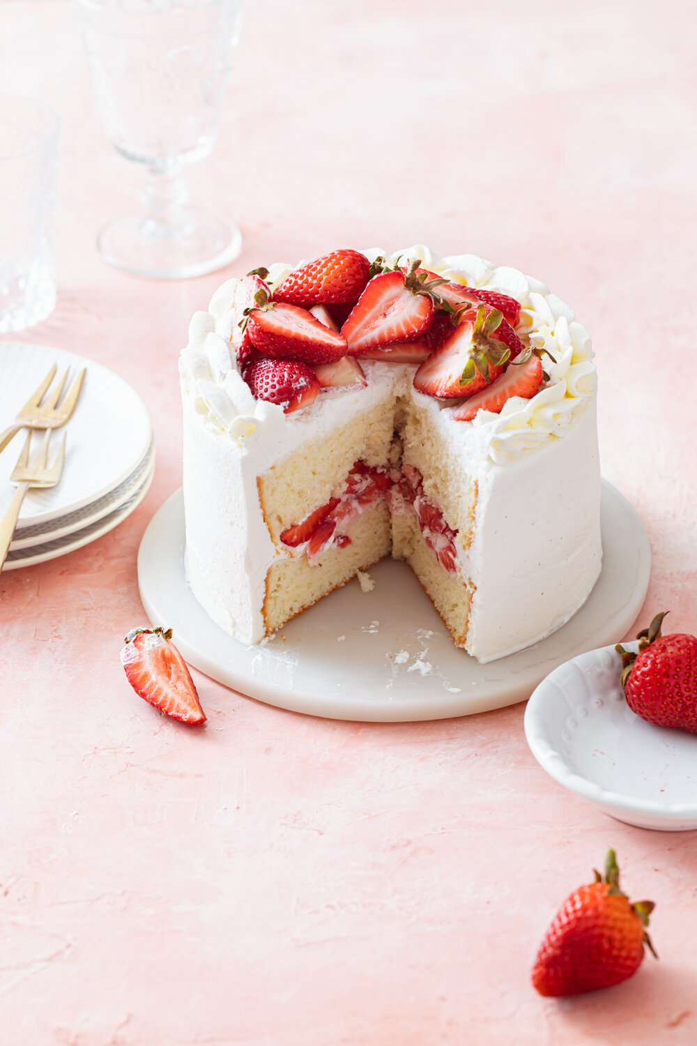 Small Strawberry Chiffon Cake with whipped cream frosting