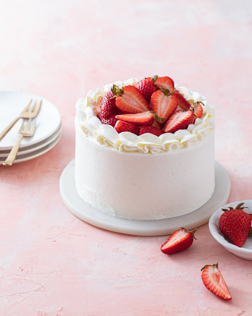 Mini Strawberry Chiffon Cake with whipped cream