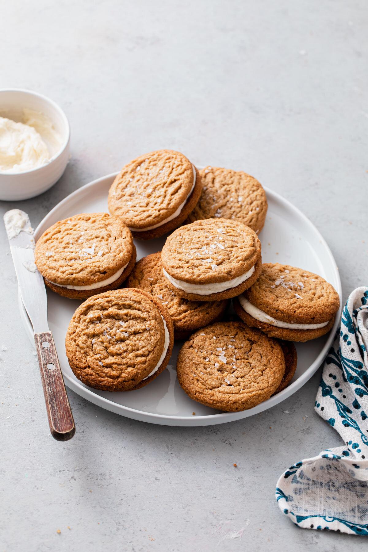 Flourless Peanut Butter Cookies with vanilla buttercream filling